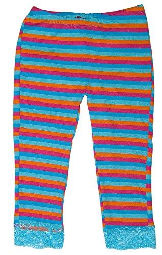 Mädchen Leggings lang Blau gestreift Spitze Gummizug Stretch Hose Gr. 164 -