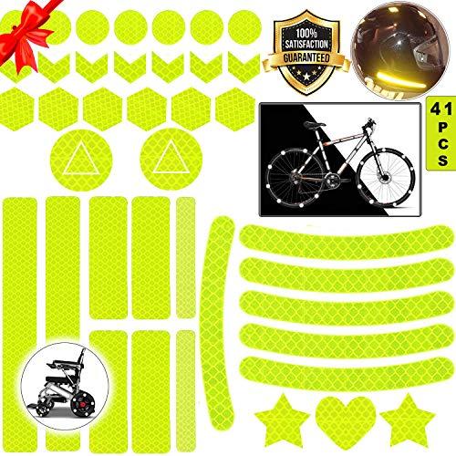 Sunshine smile Reflektoren Aufkleber Sticker,Reflektor Aufkleber Set,reflexfolie selbstklebend,reflexfolie Fahrrad,Reflektoren Aufkleber für Kinderwagen Fahrrad und helme (Gelb)