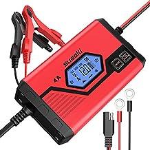 Suaoki - Cargador de Baterias Coche 4 Amp 6/12V, Mantenimiento Automático e Inteligente con Múltiples Protecciones, 8 Cargas Etapas Identificación Para Coche, Camión, Motocicleta