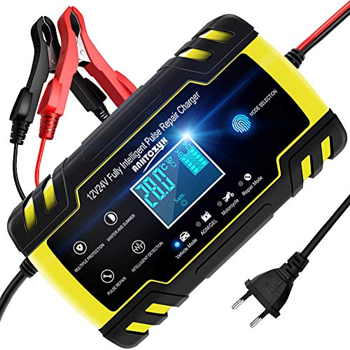 NWOUIIAY Cargador de Batería 8A 12V/24V Mantenimiento Automático Inteligente con Múltiples Protecciones para Coche Moto ATV RV Barco