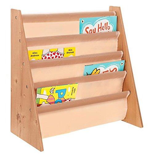 Livivo®, scaffale in legno per bambini, con tasche di facile accesso in morbido tessuto di nylon per proteggere i libri, dell'altezza perfetta per i piccoli lettori natural