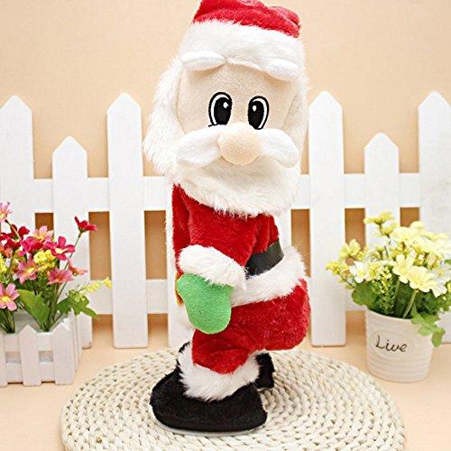 (Christmas Elektrische Weihnachtsmann animated Musical Santa Claus Figuren Twisted Hip Dance singt lustig Electric Toy for Kids Dekorationen Geburtstag Geschenk Weihnachten)
