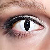 KwikSibs farbige weiße Kontaktlinsen Katzenaugen 1 Paar (= 2 Linsen) weiche Funlinsen inklusive Behälter (Stärke / Dioptrie: 0 (ohne))