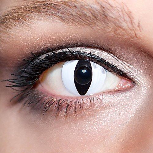 KwikSibs farbige weiße Kontaktlinsen Katzenaugen 1 Paar (= 2 Linsen) weiche Funlinsen inklusive Behälter (Stärke/Dioptrie: 0 (ohne))