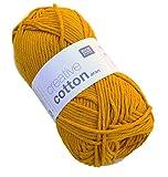 Rico Creative Cotton Aran - Mustard (70), Baumwollgarn für Topflappen, Schulgarn Baumwolle zum Häkeln