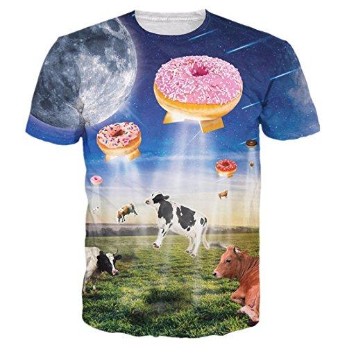 uideazone Unisex 3D-Druck Lustige Herren Kurzarm T-Shirts Bunt UK S-L eye5