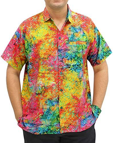 LA LEELA Beach Hemd männer Hawaiihemd Kurzarm Button Down Kragen Fronttasche Beach Strand Hemd Manner Urlaub Casual Herren Aloha M Mehrfarbig_W564 - Herren 5x Mantel Winter
