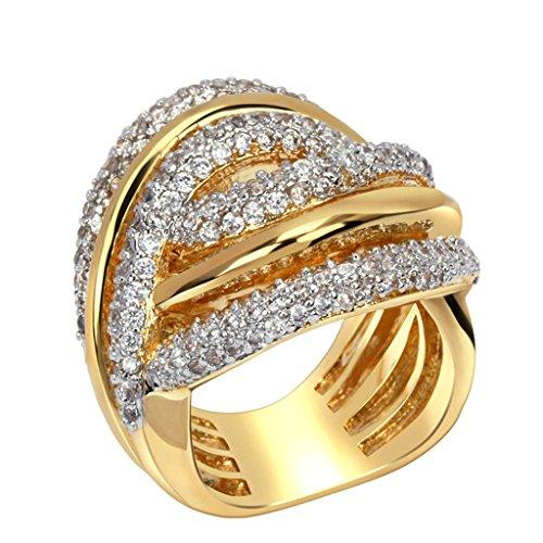 Daesar Damen Ring Vergoldet Verlobungsring Gold Aushöhlen Zirkonia Classic Größe:62 (19.7)