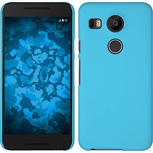 PhoneNatic Case kompatibel mit Google Nexus 5X - Hülle hellblau gummiert Hard-case + 2 Schutzfolien 5 X Hard Case