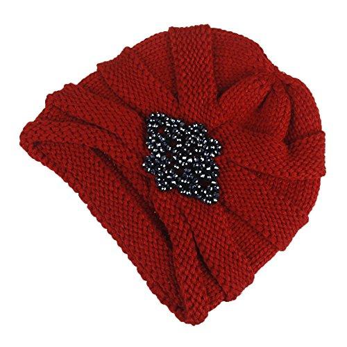 Großer Bogen Frauen Baggy Warm Crochet Winter Wolle stricken Ski Beanie Skull Slouchy Caps Diamond Hat (Weinrot) (Stricken Cuff Hut Beanie)