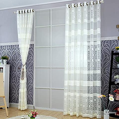 Sheer Window Vorhänge Premium Transparent Jacquard Bestickte Kaffee Hollow Wohnzimmer / drapieren / Tafeln / Behandlung Größe 40 * 110inch , 2