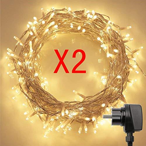 2stk 100er LED Lichterkette mit Fernbedienung & Timer (8 Modi, Warmweiß, 4,8W, Dimmbar)
