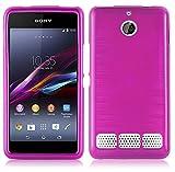 Cadorabo DE-105085 Sony Xperia E1 (1.SIM) Handyhülle aus TPU Silikon in gebürsteter Edelstahloptik (Brushed) Pink