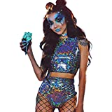 Sallypan Frauen Rave Outfit 2 Stück, 2019 Shiny Festival Crop Top & Booty Shorts Unterteile Metallic Holographic Rainbow Outfits,Gray,S