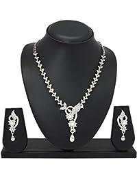 Atasi International Rhinestone Jewellery Set for Women (White)(R80)