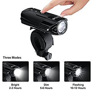 USB Rechargeable LED Bike Front Light BIGO Mountain Bike Light Cycle Lights Bicycle Flashlight Cycling Headlight Water Resistant 2000mAh/900 Lumens with 3 Light Modes-Black