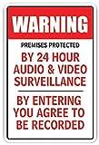 décoratifs Signes avec dictons locaux sont protégées par des 24h Audio & Video Camera de surveillance des Signes en métal Aluminium Panneau mural de sécurité