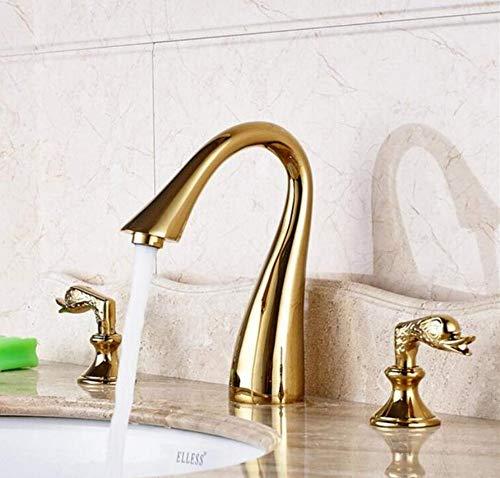 Brass Wall Faucet Chrome Brass Faucetmixer Gold Poliert Deck Montiert 3 Stücke Waschbecken Wasserhahn Doppel Griffe Mischbatterie -