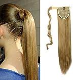S-noilite® Haarteil Zopf Pferdeschwanz Glatt Haarverlängerung 58cm natürlich Wrap on