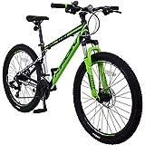 KRON XC-100 Hardtail Aluminium Mountainbike 26 Zoll, 21 Gang Shimano Kettenschaltung mit Scheibenbremse | 16 Zoll Rahmen MTB Erwachsenen- und Jugendfahrrad | Schwarz & Grün