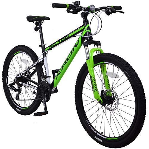 KRON XC-100 Hardtail Aluminium Mountainbike 26 Zoll, 21 Gang Shimano Kettenschaltung mit Scheibenbremse | 16 Zoll Rahmen MTB Erwachsenen- und Jugendfahrrad | Schwarz & Grün (Scheibenbremsen Für Mountainbike)