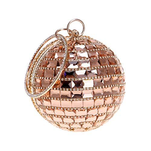 Abendtasche Clutch Handtasche Party Hochzeit Geldbörse Runde Form Perlen Strass