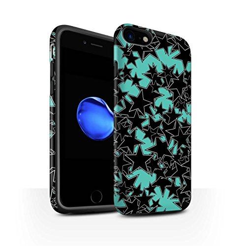 STUFF4 Matte Harten Stoßfest Hülle / Case für Apple iPhone 8 / Orange Muster Muster / Zerstreute Sterne Kollektion Zufälliges Türkis