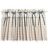 Cortina romana Reticolo Arte del panno Coffee Curtain Cucina Cortina corta Semi-ombra Piccola tenda per Decorazioni per la casa Tasca stelo 130x60 cm