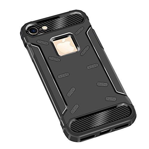 """iPhone 6S Housse , SHANGRUN Hybrid Defender Aluminium Métal + Fibres de Carbone Resilient Souple TPU Antichoc Case Etui Housse pour iPhone 6 / 6S 4.7"""" Or Noir"""