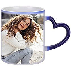 Tasse Personnalisée avec Photo Mug Magique Personnalisable en Ligne Changeante de Couleur Sensible à la Chaleur Tasse à Café Thé Chaud en Céramique pour Cadeau d'Anniversaire Noël Fête des Père/Mère