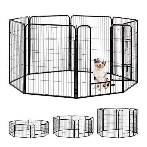 Relaxdays Welpenauslauf, kleine Hunde, Welpen, Kleintiere, Innen, Außen, Laufstall HxBxT: 100 x 76,5 x 235 cm, schwarz -