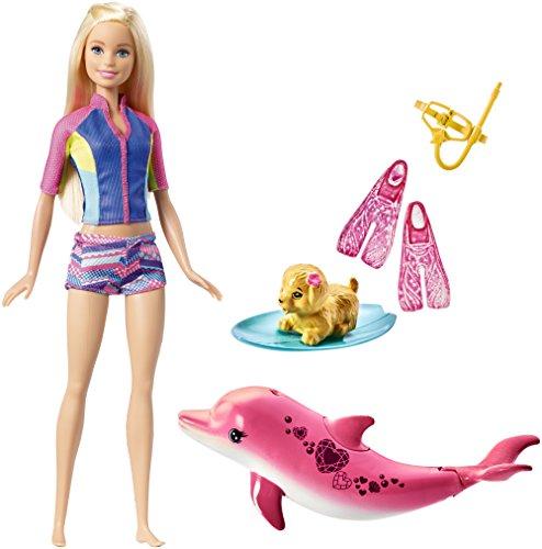 Barbie FBD63 - Magie der Delfine tierische Freunde, Taucher Puppe mit Farbwechsel, inkl. Zubehör und Delfin, Mädchen Spielzeug ab 3 Jahren (Barbie-wasser-spiel-puppe)