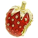 Goldfarbene 925Sterling Silber rot Emaille Erdbeere Bead für europäische Charm-Armband