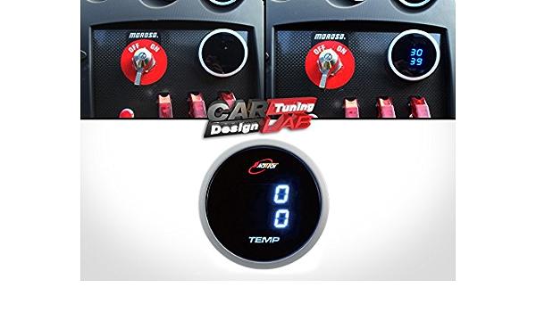 Auto Innenzubehör Dual Temperatur 52 Mm Digitale Temperatur Wasser Und Öltemperatur Temperaturmessgerät Blaue Led Rauchlinse Auto