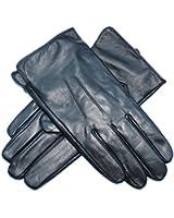Jasmine Silk Mens Luxury Genuine Lambskin Leather Cashmere Lined Gloves BLACK