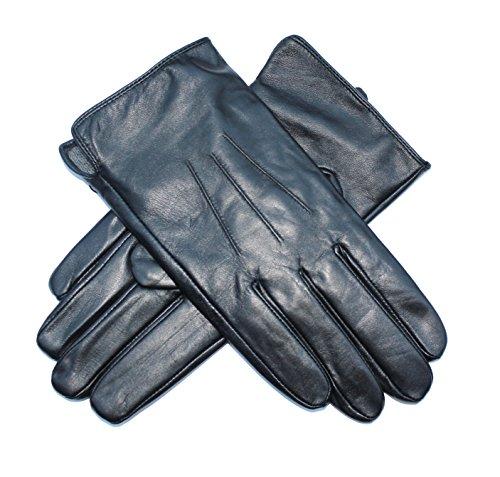 Jasmine Silk Herren Lederhandschuhe aus weichem Ziegennappaleder Cashmere gefüttert Schwarz (Large (21.5cm - 24cm))