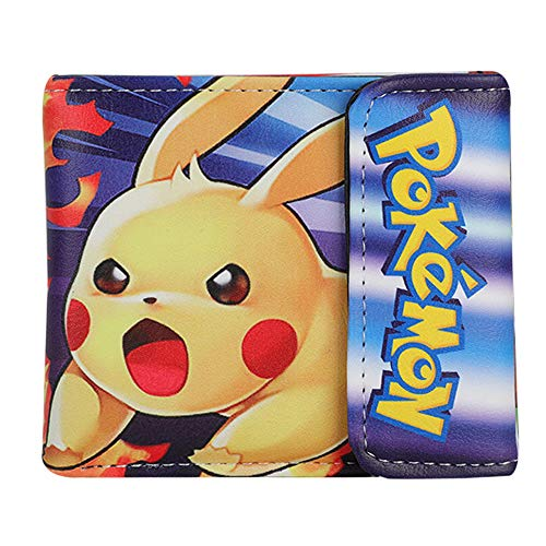 dbörse Jungen,Pikachu Geldbeutel Teenager Mädchen Klein,Anime Cartoon Muster Portemonnaie Kreditkarten Steckplätze Kartenetui Portemonnaie Portmonee Lederbrieftasche (5) ()