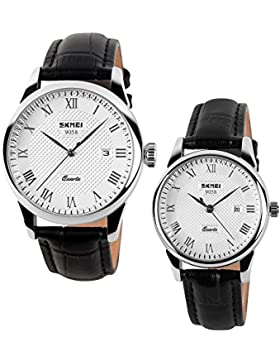 Mode für Männer und Frauen schwarze echte Leder Armbanduhr mit Kalender für Paar (2er-Set)