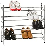 4 TIER METAL CHROME EXTENDABLE SHOE RACK STORAGE SHELVES BOOT STAND ORGANISER STACKABLE SHELF HOLDER