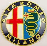 Neues Emaille Schild Alfa Romeo 12cm Rund, Classic Werbeschild Reklameschild 50er Jahre Life Style Retro Fifties