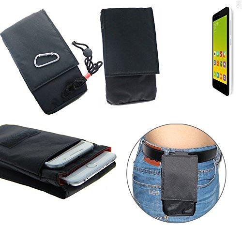 K-S-Trade (TM) sacchetto cintura, marsupio / borsa a tracolla, taschino per Xiaomi Tech Redmi 2, nero. Borsa da viaggio, Travel-Caso verticale, Protezione cinghia copertura cassa clip caso