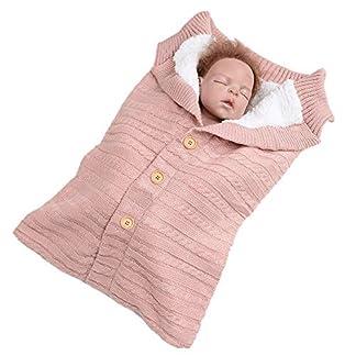 Mitlfuny Aire Libre Saco de Dormir para Bebé Niños Invierno Grueso Terciopelo Swaddle Wrap Botón Manto Envolvente Recién Nacido Punto de Ganchillo Cochecitos Sillas Carrito Mantita 0-12 Meses Infantil
