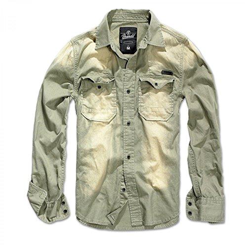 Brandit Hardee Denim Shirt Oliv-Grau - XXL (Retro Western-hemden Für Männer)
