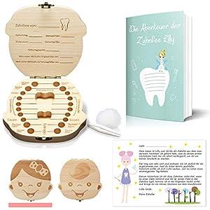 Original Little Moonshine Zahndose Milchzähne inkl. Geschichten der Zahnfee – Zahnbox für Milchzähne aus Holz für Mädchen und Jungen – Milchzahndose Holz – Geschenkideen zu Taufe und Geburtstag