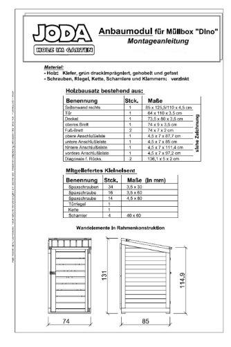 "JODA Anbaumodul inkl. Rückwand ""DINO"" 74x85x115/131cm Mülltonnenbox Müll - 2"