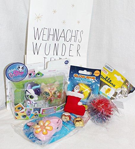 110611 Kinder Nikolaus Wundertüte Geschenk Set 3 – 7 Jahre Weihnachtsgeschenk mit Minion Blindbag, Leuchtring, Littlest Pet Shop, Leuchtball, Schlüsselanhänger in Weihnachts Wundertüte