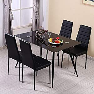 Huiseneu Modern Black Dining Chairs Set Faux Leather Office Meeting Room High Back Chair Upholstered Padded Seat For Kitchen