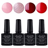Allenbelle Esmaltes Permanentes Para Uñas Nail Art Soak Off UV LED Esmalte Permanente de gel (Lot 4 pcs 7.3ML/pc) 049