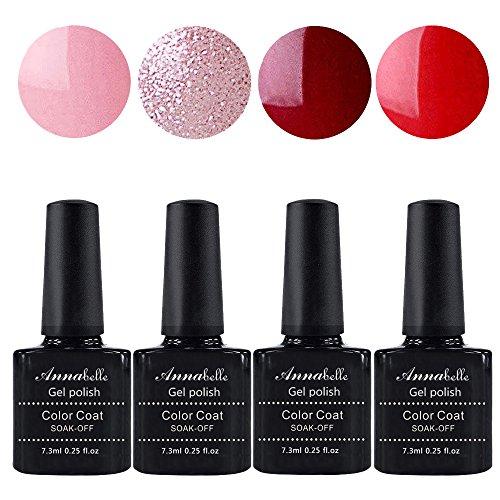 Annabelle UV Nagellack Soak Off UV Gel Nagellack Nail Art Top Coat Base Coat (7.3ml/pc Lot de 4) 049