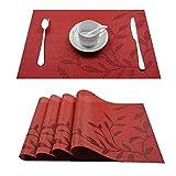 Top Finel umweltfreundlich Platzmatten-Set Tischsets Platzdeckchen Tischmatte dekorativ Unterlage 30 x 45 cm 4er Set Rot